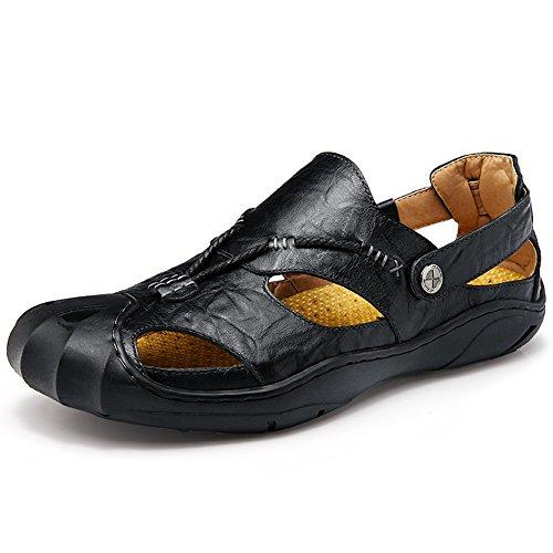GARNIER Hombre Cuero Sandalias cerradas Dedo del pie Confortable Calzado Moda playa Verano Al aire libre Zapatos (EUR43=UK8.5, Negro)