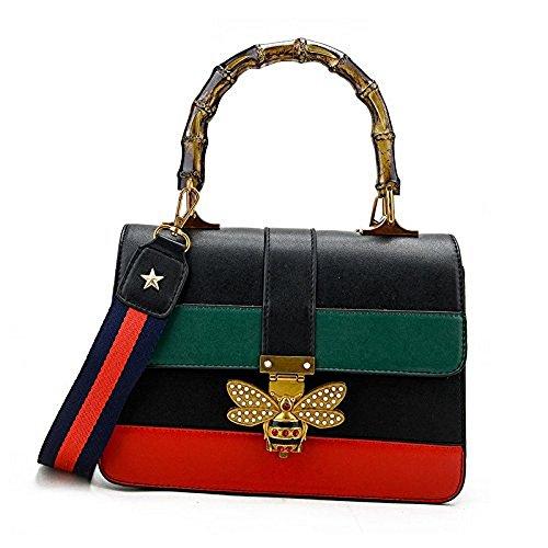 Uniqstore Damen Crossbody Tasche Handtasche Schultertasche mit Biene-Form kleine Schloss Schwarz