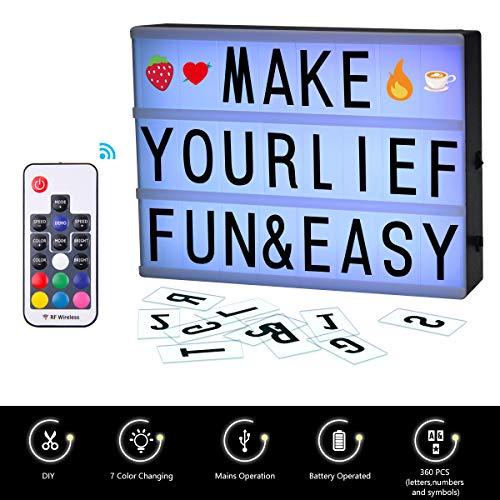 LED Leuchtkasten, FOCHEA A4 LED Lichtbox/Lightbox/Leuchtbox Set mit 7 Arten von Farbwechsel, 90 schwarzen Buchstaben, 180 bunten Buchstaben und 90 Symbolen für Wohnraum-Dekoration, Hochzeit