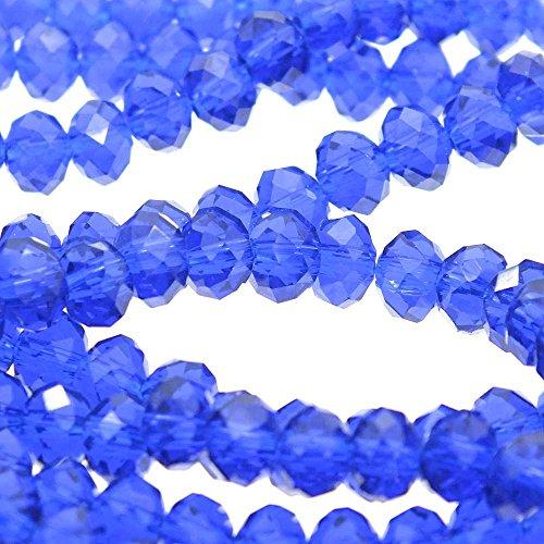 Rondelle 4x 6mm Sfaccettato Cristallo Perline di Vetro, zaffiro-50pcs