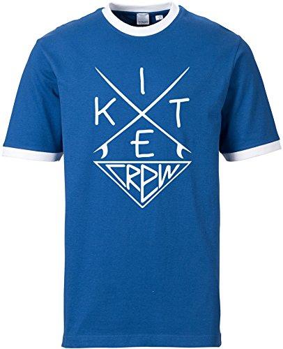 EZYshirt® Kitesurf Crew Herren Rundhals Ringer T-Shirt Blau/Weiss/Weiss