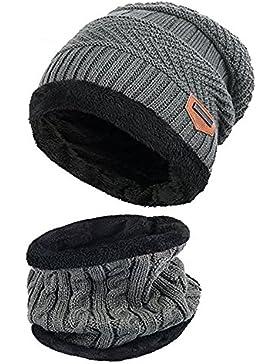 Alando warm Kinder Outdoor Sport Wintermütze Strickmütze kuschelig Schal mit Loop