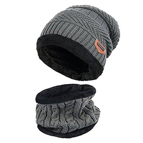 Alando warm Kinder Outdoor Sport Wintermütze Strickmütze kuschlig Schal mit Loop (Grau)