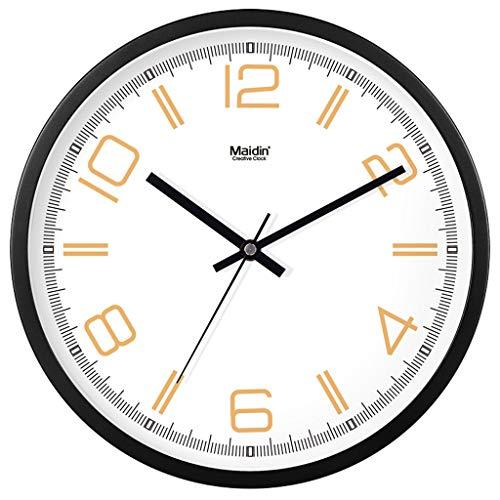 Everyday home Horloge murale silencieuse ronde Armature en métal de conception numérique avec cadran en verre Horloge à quartz pour salon Horloge de cuisine de bureau chambre