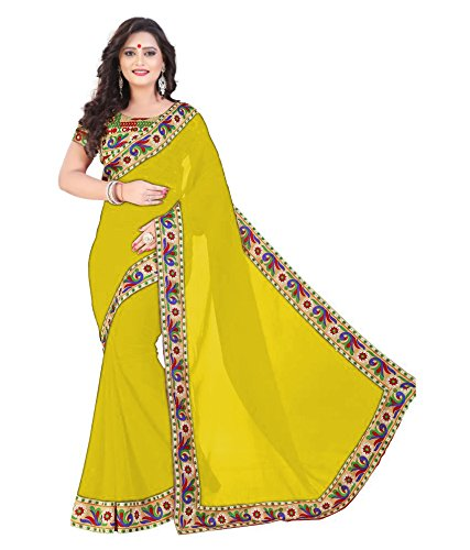 Jay Ambe Printed Lace Borderd lemonyellow Color Georgette Saree With Sparkel Blouse...