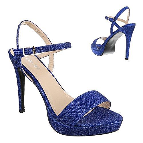 Damen Schuhe, DM4G-2, SANDALETTEN HIGH HEELS PLATEAU PUMPS Blau