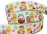 Colourful Baby World Ruban de Gros-Grain, Motif de pâques, 3m, 16/22mm de Large Poussins et œufs