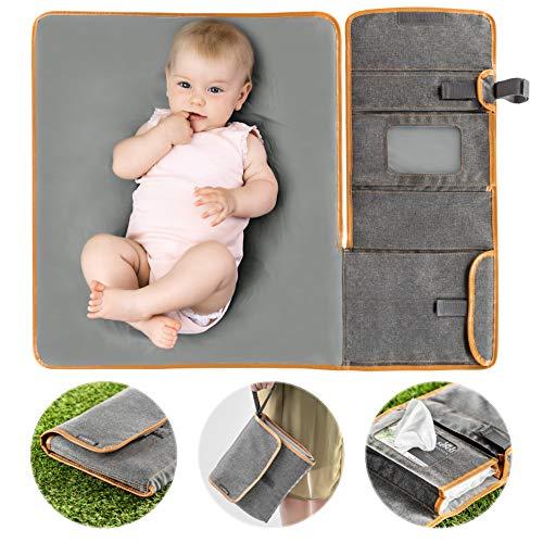 Zamboo Tragbare Baby Wickelunterlage für unterwegs | Faltbare Reise Wickeltasche mit abwaschbarer Wickelauflage 60x50 cm und Befestigung für Kinderwagen - Melange Grau