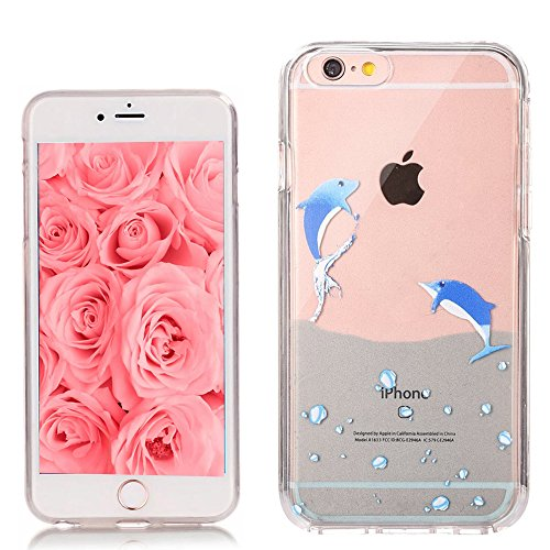 EMAXELERS iPhone 6S Plus Case Transparent Clear Glitzer Liquid Diamond Hülle,iPhone 6S Plus Hülle Rosa,iPhone 6S Plus Hard Hülle,iPhone 6S Plus Hülle Bling 3D Kreative Liquid Case Etui für iPhone 6 Pl J Animal TPU 4