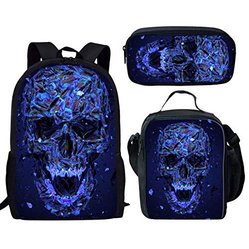nopersonality Rucksack und Brotdose Pack Set 2Stück für Grundschule Kinder Größe S Blue Skull Backpack+lunch Bag+pencil Case Bento Box Case