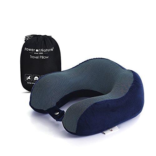 U-zeitgenössische-bett (PON Memory Baumwolle 3D Ergonomische Full Hals Reisekissen (weiß blau))