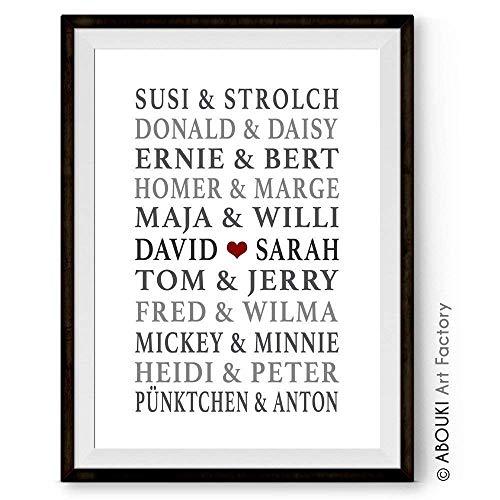7 - Berühmte Paare, personalisierter Kunstdruck mit Wunschnamen - ungerahmt - Fine-Art-Print Poster, Hochzeitsgeschenk, Geschenkidee ()