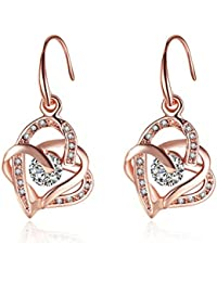 YEAHJOY Bling Jewellery Women's Rose Gold Plated Leaf Shape Oil Drip Drop Earrings Tx0QFDuCo