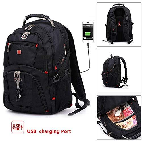 "zhujiaN Multifunktionaler USB-Port 17""Laptop-Rucksack wasserdichte Reisetasche"