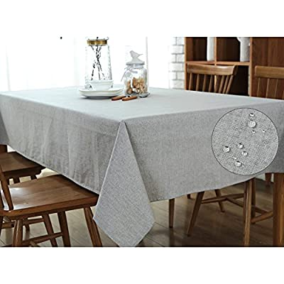 Rectangle Linen & Cotton Table Cloth Wipe Clean, Waterproof Plain Dining Table Cover linen, Table Linen for Home Hotel Cafe Restaurant by Ultrashang