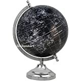 Globeskart Educational/Antique Globe With Chrome Finish Arc And Base / World Globe / Home Decor / Office Decor / Gift Item / 8 Inches (Black Silver)