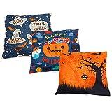 WINOMO 3 Stks Halloween Kussensloop Pompoen Patroon Kussensloop Linnen Slaapbank Sierkussen Cover Voor Bed Woonkamer Decoratie Zonder Kussen