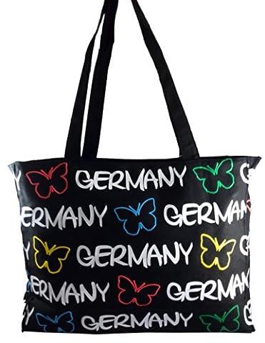 Robin Ruth Canvas Umhängetasche Germany Schmetterling in schwarz (Maße: LxHxT 36x28x11cm)