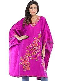 Exotic India Purple-Orchid Kashmiri Short Kaftan With Ari-Embroidered F - Purple