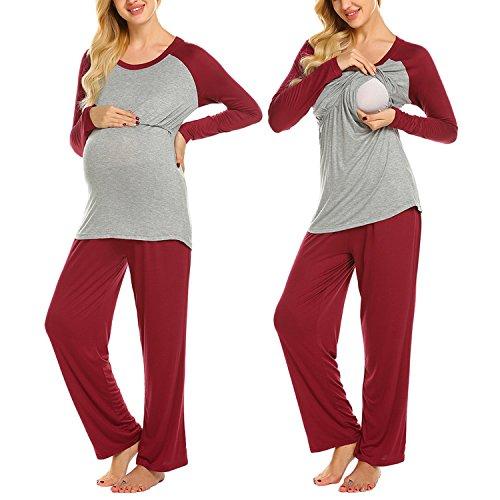 Maxmoda pigiama due pezzi premaman donna pigiami allattamento scollo a u vestaglia ragazza manica lunga con pantaloni rosso xxl