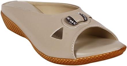 Footshez Women's Cream Flat Sandal