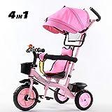 SSLC Triciclos Bebes Evolutivo Plegable para BebéS a Partir de Los 8 Meses,con Control Parental Desde El Mango Y Ruedas con Banda De Goma Capacidad de Carga 30KG, Pink