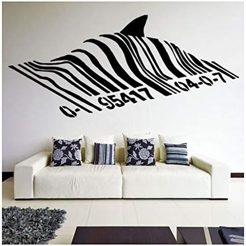 Zxdcd Barcode Shark Wandtattoo Vinyl Street Art Graffiti Stil Wand Kunst Wandbild Shark Design Home Street Wanddekoration 125x57cm