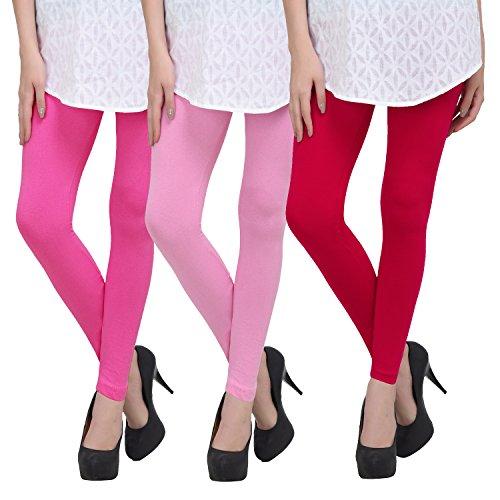 Livener Premium Cotton Ankle Leggings for Women (Pack of Pink, Baby Pink & Magenta Color)