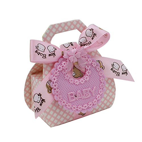 12 Lätzchen Form DIY Papier Geschenk-Box Taufe Baby Dusche Party Favor Boxen rose