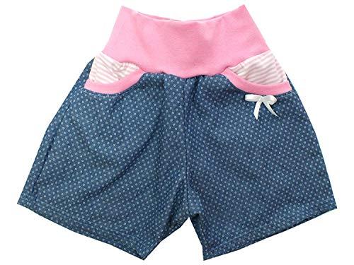 Kleine Könige Kurze Pumphose Baby Mädchen Shorts · Modell Jeans Dotty rosa mit Tasche · Ökotex 100 Zertifiziert · Größe 74/80 (Jeans-pumphose Für Kleinkinder)