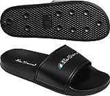 Ben Sherman Mens Slip On Beach Slider Shoe in Black-Single Bandage Upper