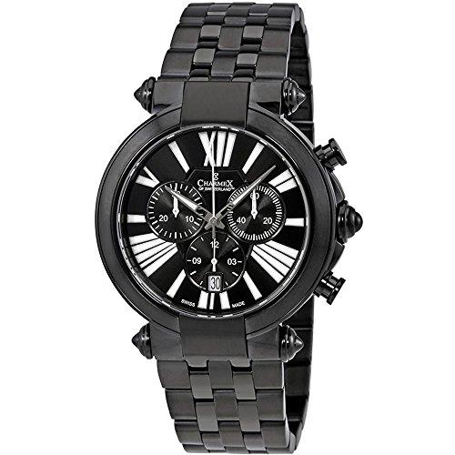 Charmex Men's Cambridge 41mm Black Steel Bracelet & Case Quartz Watch 2800