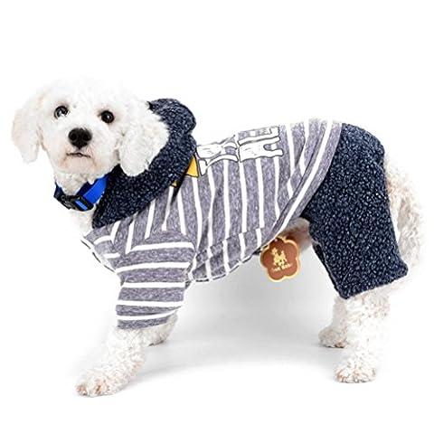 zunea Kleine Hunde Overall mit Kapuze Fleecefutter gestreift Sports Puppy Schneeanzug Warm Winter kaltem Wetter Coats Chihuahua Hund Pet Katze Kleidung