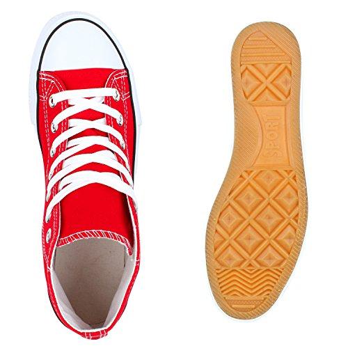 Herren Damen Sneakers High Top Profilsohle Freizeit Turnschuhe Rot