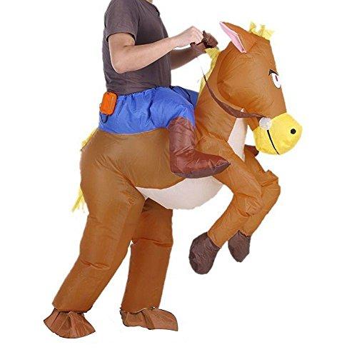 Imagen de jzk® caballo inflable y traje de vaquero vestido de lujo, traje hilarante para adolescentes y adultos, explotar disfraz disfraz de halloween traje de fiesta traje de cosplay alternativa