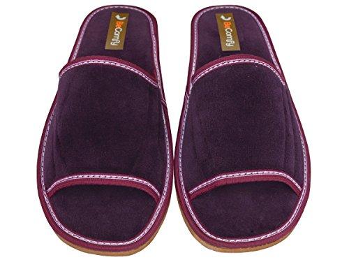 Hausschuhe Baumwolle Damen Pantolette Komfort Kork Pantoffeln Latschen Modell DN01 Violett