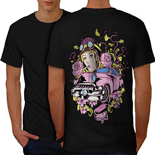 Rosa Rose Jahrgang Auto Auto Rennfahrer Herren M T-shirt Zurück | Wellcoda Salon-wagen Rosa