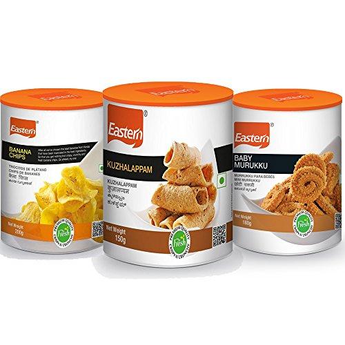 Eastern Snacks Combo – Banana Chips (200 g), Kuzhalappam (150 g), Baby Murukku (150 g) (Pack of 3)