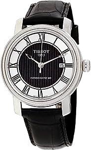 ساعة تيسوت للرجال بقرص ساعة أسود وفضي وبسوار جلدي - طراز T097.407.16.053.00