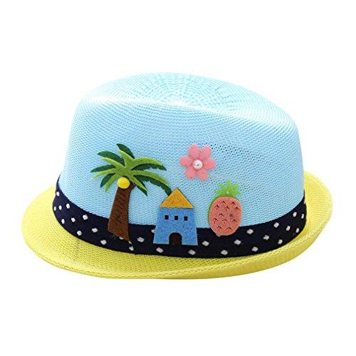 (Strohhut Sonnenhut SOMESUN Sommerhut Strandhut für Mädchen Kappenumfang Sommer Strand Meer Schöne Weben Sonnenhut Mütze für Baby Mädchen Jungen (Blau, für 2-6 Jahre baby))