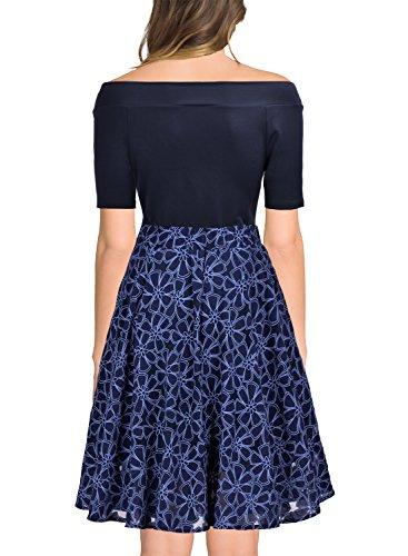 MIUSOL Damen Retro Cocktailkleid Schulterfei Rockabilly Elegant Abendkleid Navy Blau Gr.M -