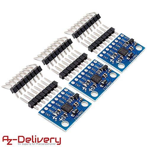 AZDelivery ⭐⭐⭐⭐⭐ 3 x GY-521 MPU-6050 3-Achsen-Gyroskop und Beschleunigungssensor für Arduino