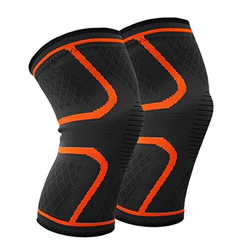 Beskey Kniebandage (Paar) Anti-Slip Kniestütze Super Elastisch Atmungsaktiv Knee Sleeves Hilfe Joint Pain Relief für Arthritis Leidende und Erholung von Verletzungen Fit für Den Sport (Orange, L)