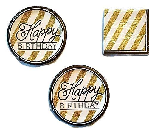 Party Creations Servietten, Motiv Happy Birthday, Schwarz / Gold, 16 Stück