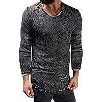 Yvelands Individualidad para Hombre Agujero Slim Fit O-Neck Camiseta Manga Larga Camiseta Camiseta Ripped Casual Tops Blusa ¡Caliente!
