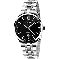 CIVO Mens Luxury Stainless Steel Band Business Casual Wrist Watches Men's Analogue Quartz Dress Watch Fashion Simple Classic Roman Numeral Design Date Calendar Black Dial with Link Remover Bonus