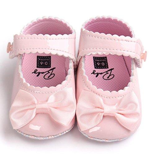 Schuhe Kinder - Omiky® Baby-Bowknot-Leder-Schuh-Turnschuh-Rutschfeste weiche Sole-Kleinkind Rosa