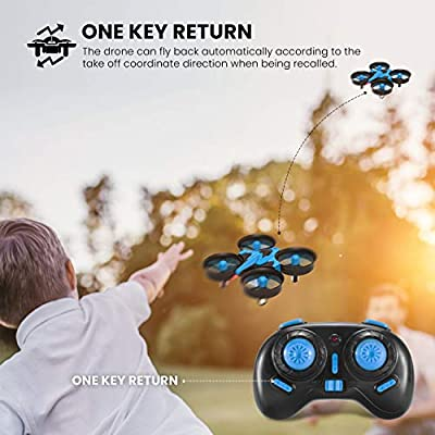 REDPAWZ Mini Drone for Kids, H36 Drone with 2.4G 4CH 6 Axis Gyro Headless Mode Remote Control CF Mode One Key Return RC Quadcopter Drone Helicopter RTF with 2 Betteries (Blue)