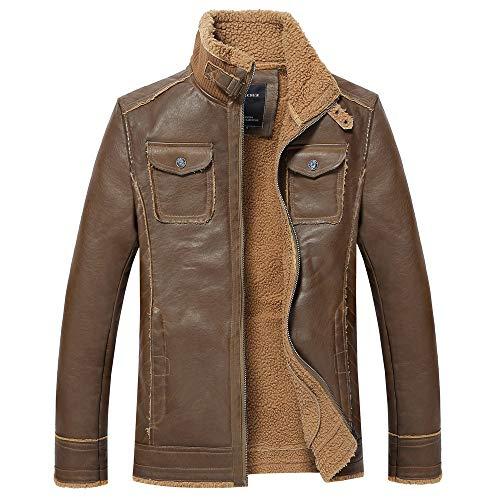 Hommes VêTement De Cuir éToffe Duveteuse Epais Chaud Manteau Veste Blouse Blouson Pardessus Hiver Autumne Casual Sweatshirt Sport Pullover Brown XL