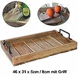 LS-LebenStil Design Holz Tablett Serviertablett Betttisch Betttablett Griff Mangoholz Braun XL 46x31x8cm - 2